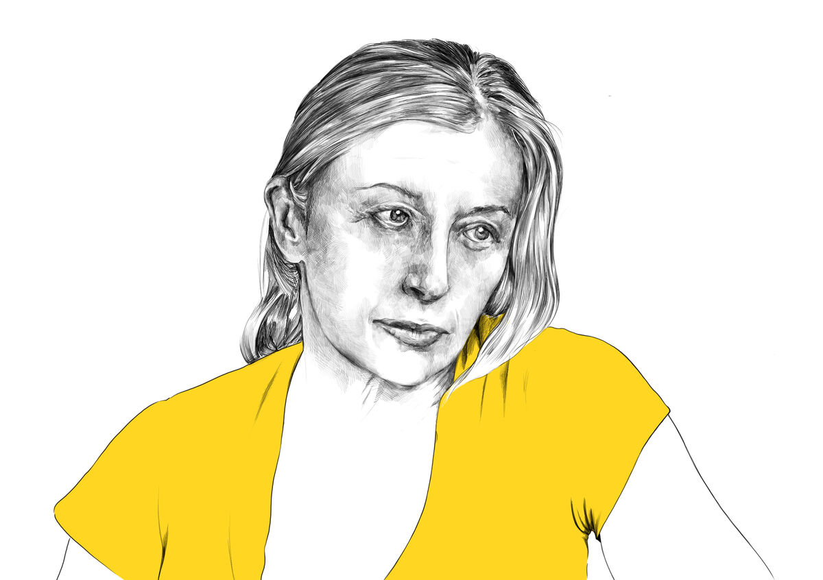 Illustration of Cindy Sherman by Rebecca Strickson for Artsy, based on a photograph by Cindy Sherman. Original photograph courtesy of Cindy Sherman and Metro Pictures, New York.