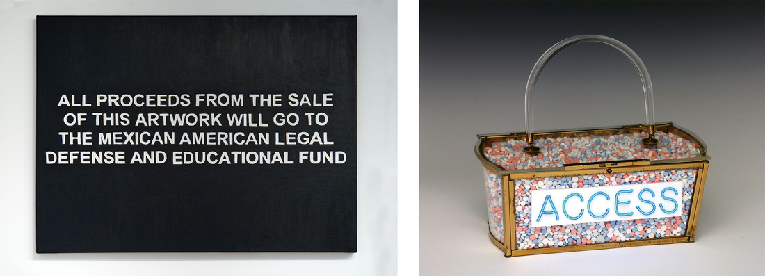 Left: Pablo Helguera, All Proceeds, 2016. Right: Michele Pred, Access, 2015. © Michele Pred. Courtesy of the artist and Nancy Hoffman Gallery, New York. Images courtesy of For Freedoms.