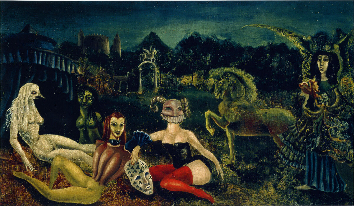 Leonora Carrington,  Down Below,   1940. © 2019 Estate of Leonora Carrington / Artists Rights Society (ARS), New York. Courtesy of Gallery Wendi Norris.