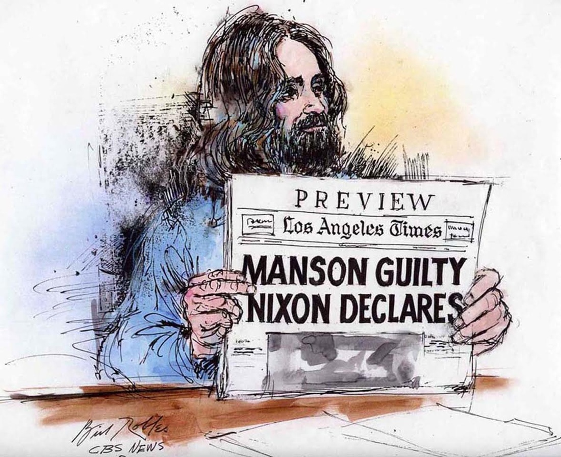 Illustration of Charles Manson holding up a newspaper to the jury by Bill Robles.