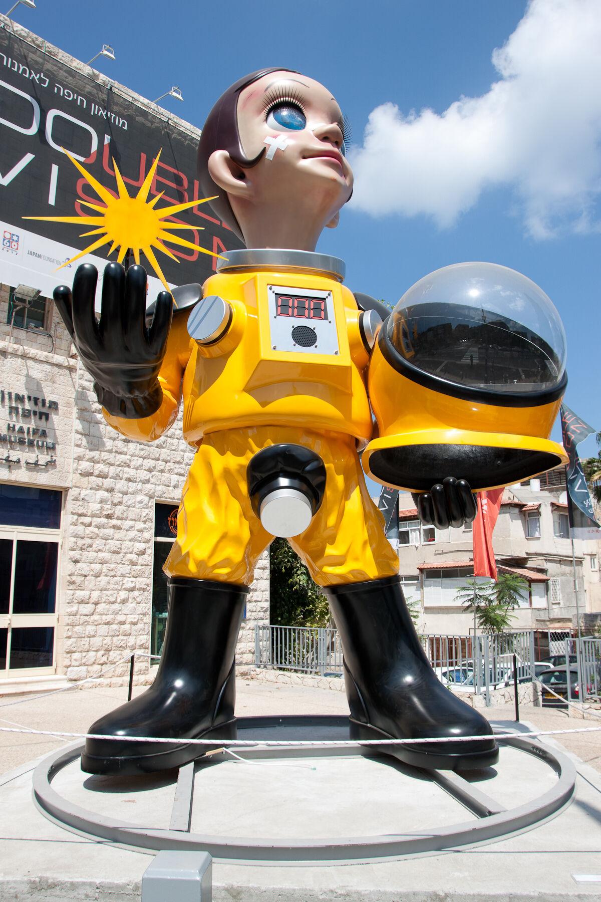 "Kenji Yanobe's ""Sun Child"" (2011) outside the Haifa Museum of Art in 2012. Photo by Oren Rozen, via Wikimedia Commons."