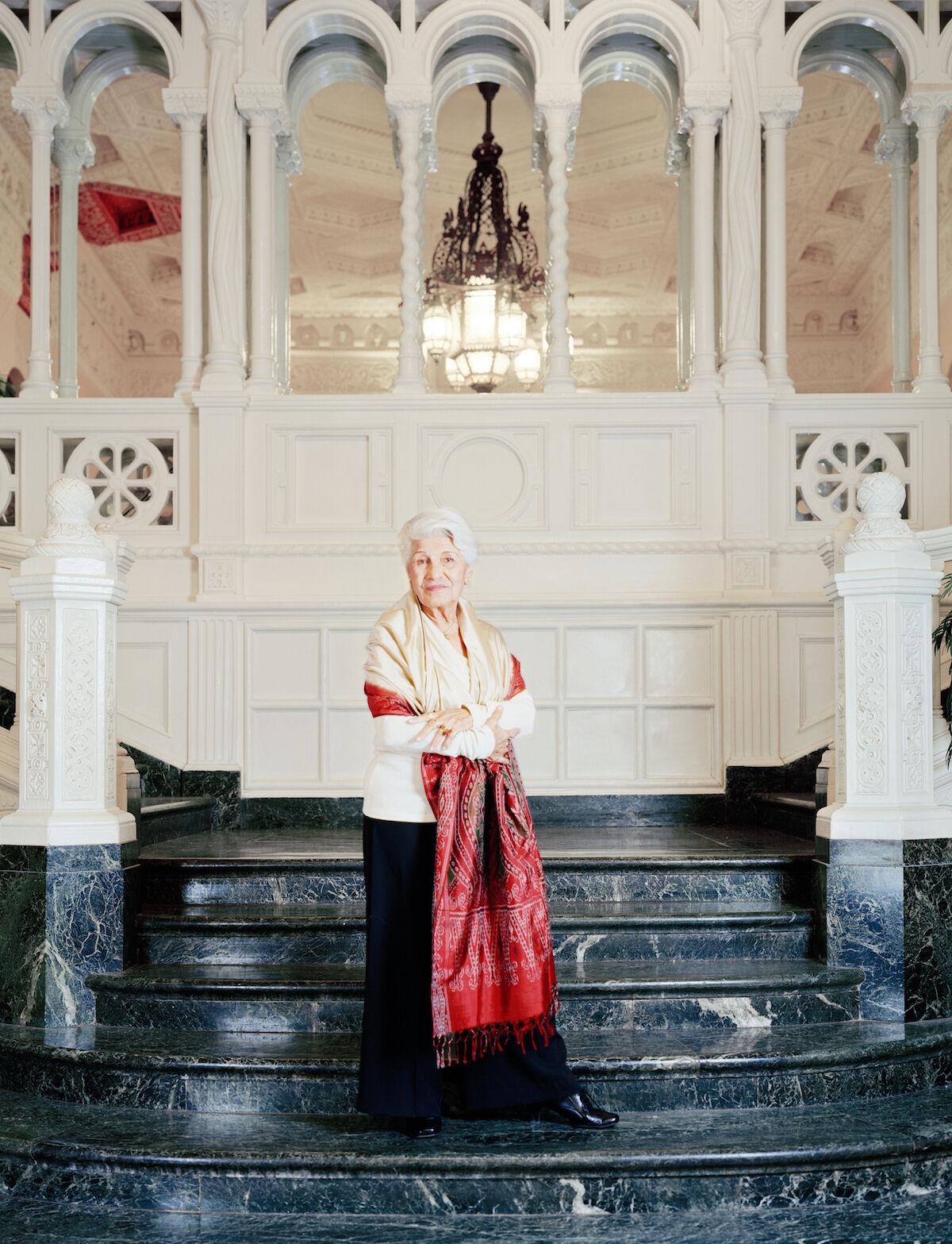 Monir Farmanfarmaian in the lobby of her apartment building, New York, 2010. Photo by Curtis Hamilton, courtesy Haines Gallery.
