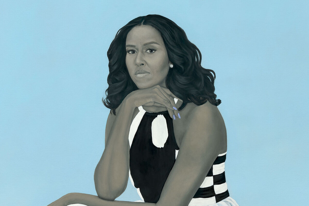 Detail of Amy Sherald, Michelle LaVaughn Robinson Obama, 2018. Courtesy of the National Portrait Gallery, Smithsonian Institution.