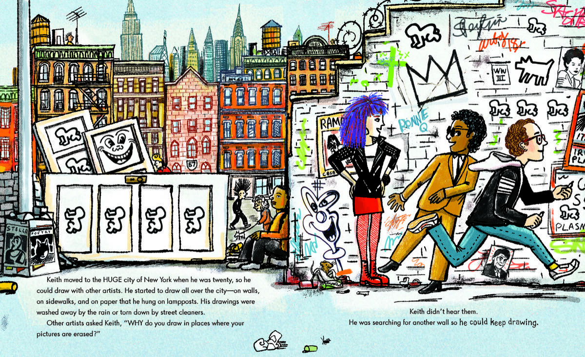 Illustration for Keith Haring: The Boy Who Just Kept Drawing by Robert Neubecker. Courtesy of Dial Books, Penguin Random House.