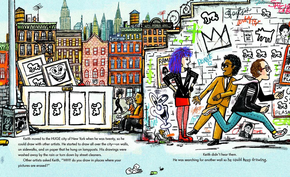 Illustration pour Keith Haring: Le garçon qui a juste gardé le dessin par Robert Neubecker. Courtoisie de Dial Books, Penguin Random House.
