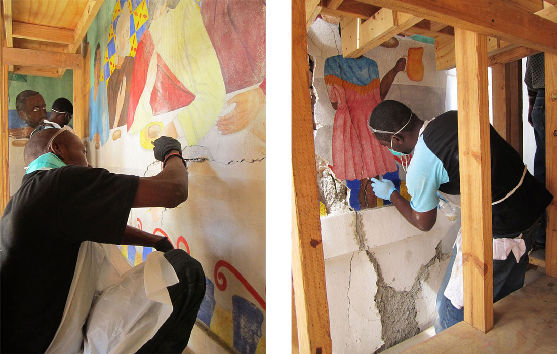 Restoration of murals in Haiti. Photos byStephanie Hornbeck, courtesy of the Smithsonian.