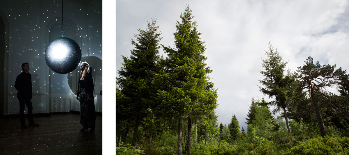Left: Katie Paterson, Totality, 2016. Photo © Flora Bartlett. Installation view Sommerset House. Courtesy of the artist and the Arts Council Collection; Right: Future Library Handover Day, 2016. Photo © Bjørvika Utvikling by Kristin von Hirsch. Future Library is commissioned and produced by Bjørvika Utvikling, managed by the Future Library Trust. Supported by the City of Oslo, Agency for Cultural Affairs and Agency for Urban Environment. Image courtesy of the artist.