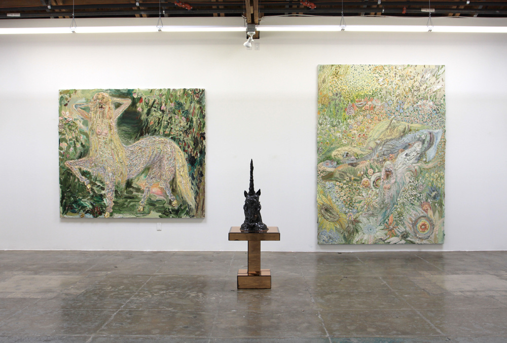 """Installation view of """"Allison Schulnik: Hoof"""" at Mark Moore Gallery, Los Angeles. Courtesy of Mark Moore Gallery and the artist."""