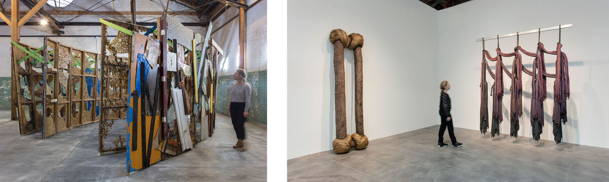 "Installation view of ""Revolution in the Making: Abstract Sculpture by Women, 1947 – 2016"" at Hauser Wirth & Schimmel, 2016. Courtesy of the artists and Hauser & Wirth. Photos: Brian Forrest. Pictured left: Abigail DeVille, Intersection, 2014."
