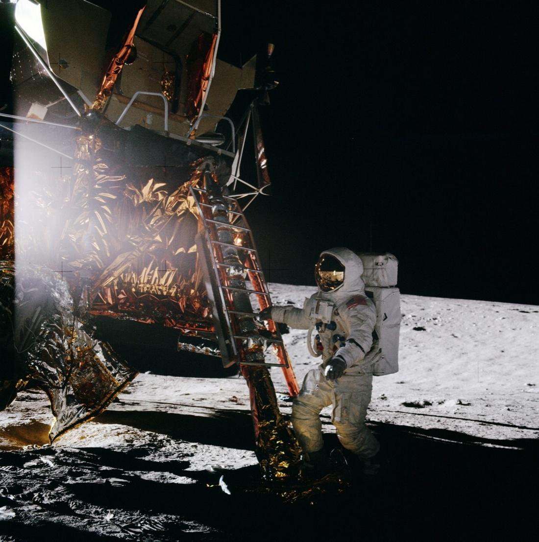 """Apollo 12"" Lunar Module pilot Al Bean steps onto the Moon. Public Domain via Creative Commons."