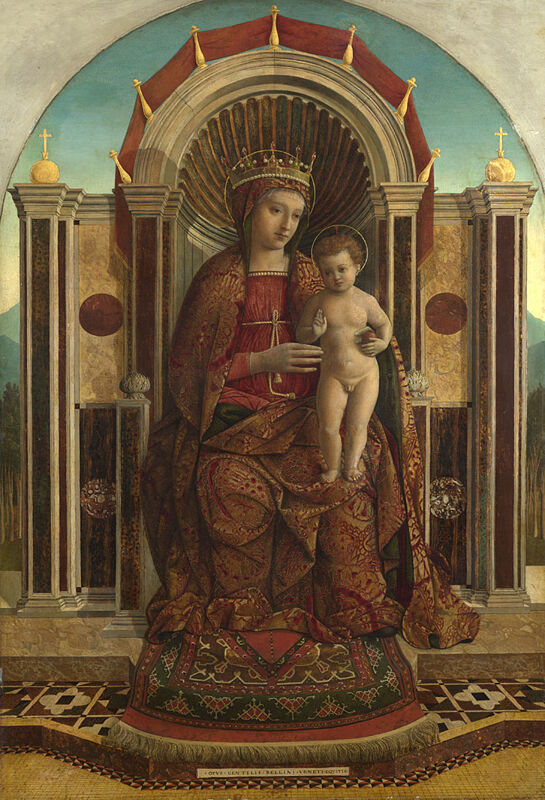 Gentile Bellini, The Virgin and Child Enthroned, about 1475-85. Courtesy of the National Gallery, London.