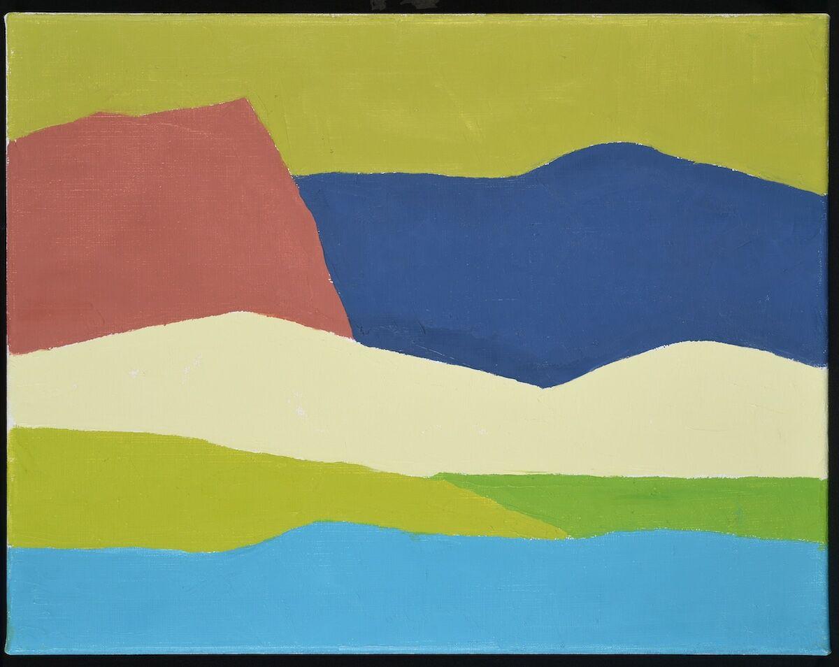 Etel Adnan, Paysage 2, 2014, oil on canvas. Courtesy the Institut du Monde Arabe.