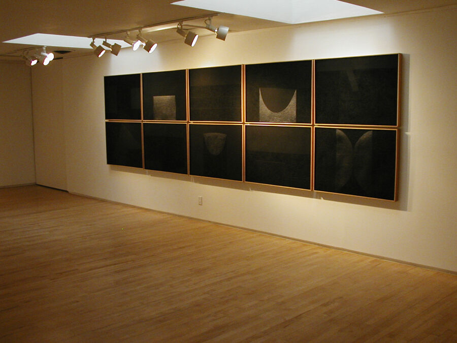 "Installation view of Alberto Burri's suite ""Mixoblack"" (1990). Mixografia prints on handmade paper. 55 x 196.25 inches. Edition of 30."
