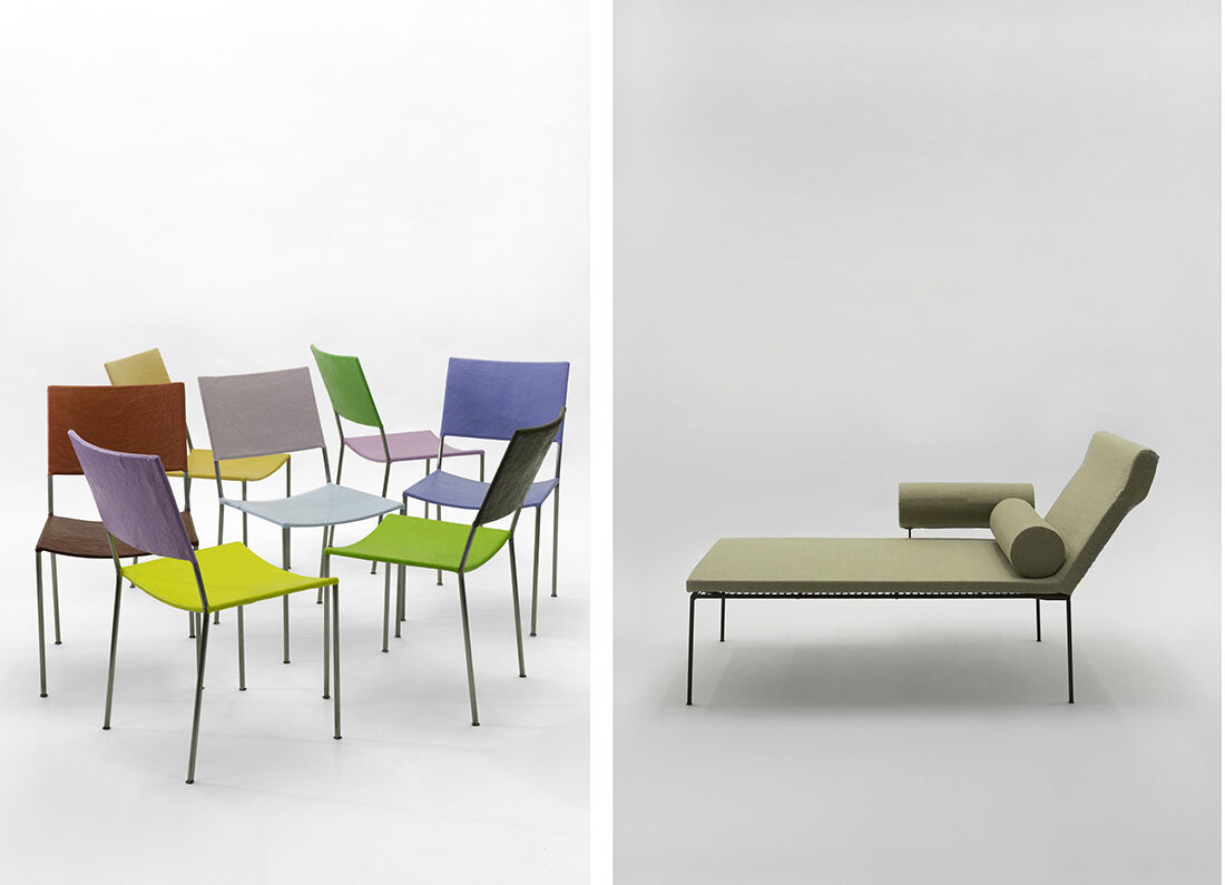 Franz West, Artist's Chair, 2012–15 (left) and Chaise Lounge, 1992–2015 (right), courtesy Gagosian Gallery.© Franz West Privatstiftung. Photo by Marina Faust.