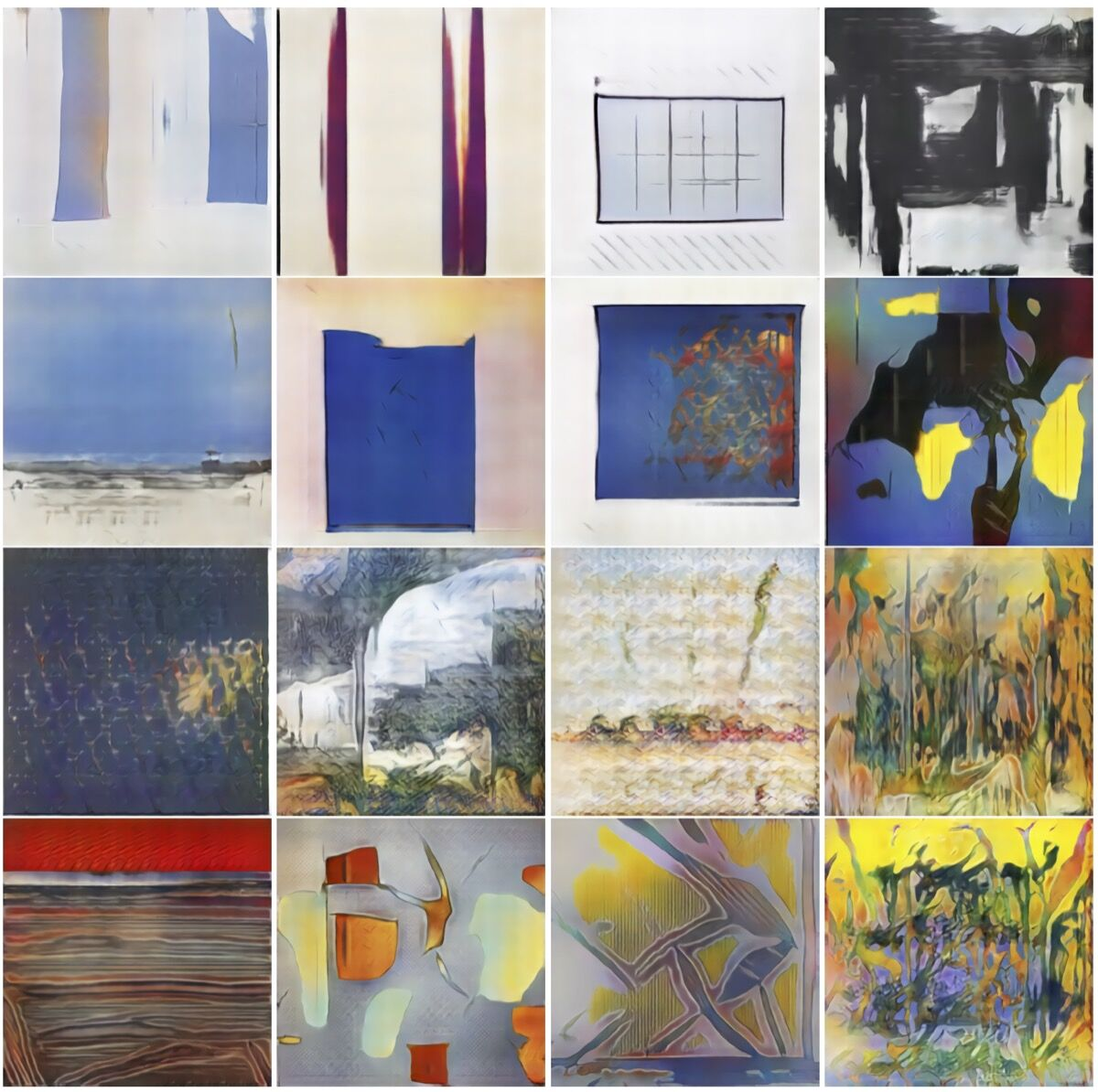 """Example of images generated by CAN, included in """"CAN: Creative Adversarial Networks Generating 'Art' by Learning About Styles and Deviating from Style Norms."""" Courtesy of Ahmed Elgammal."""