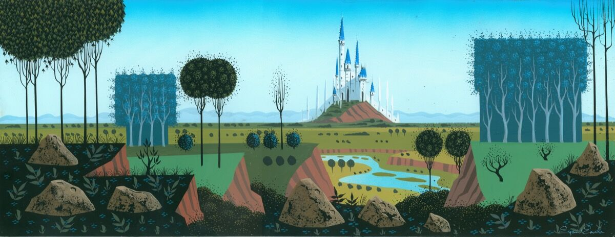 Eyvind Earle, Concept painting, c. 1950, Sleeping Beauty, 1959. Collection of the Walt Disney Family Foundation. © Disney. Courtesy of the Walt Disney Family Museum.