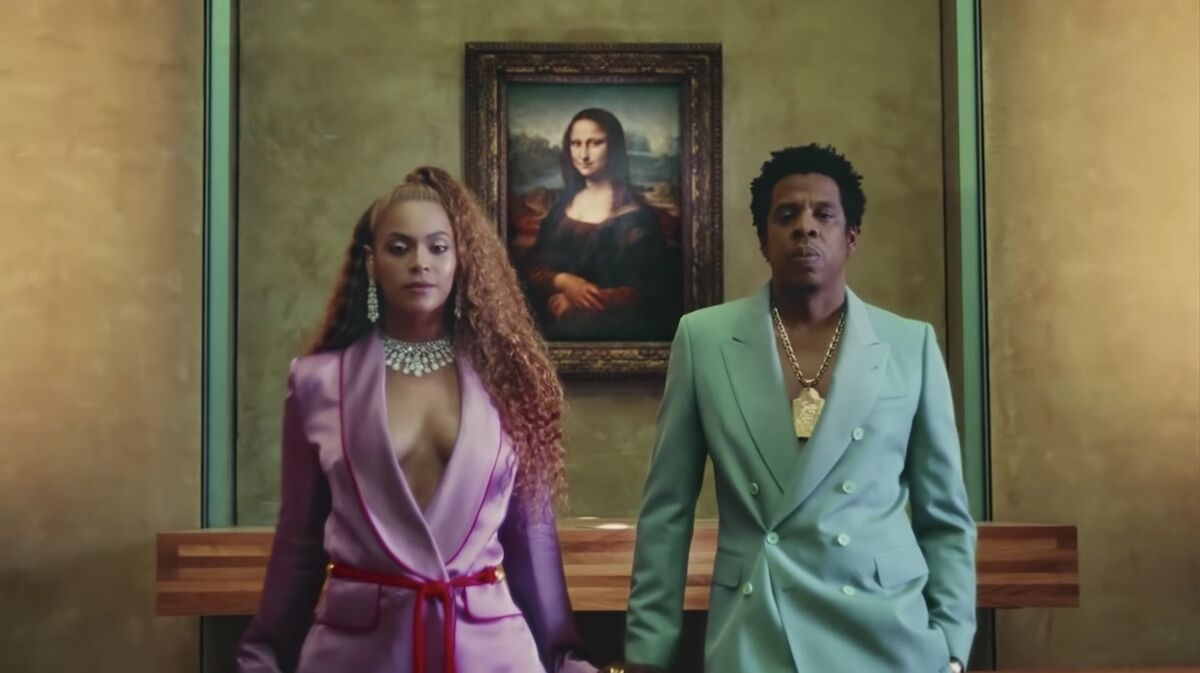"Still from Beyoncé and Jay-Z's ""Apeshit"" music video."