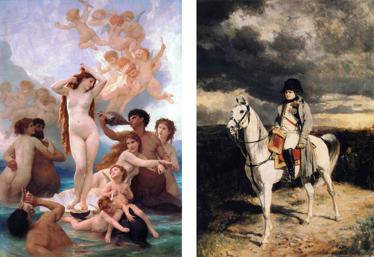 Left: William-Adolphe Bouguereau, The Birth of Venus, 1879. Image via Wikimedia Commons; Right: Jean-Louis-Ernest Meissonier, 1814, 1862. Image courtesy of Walters Art Museum, Baltimore.