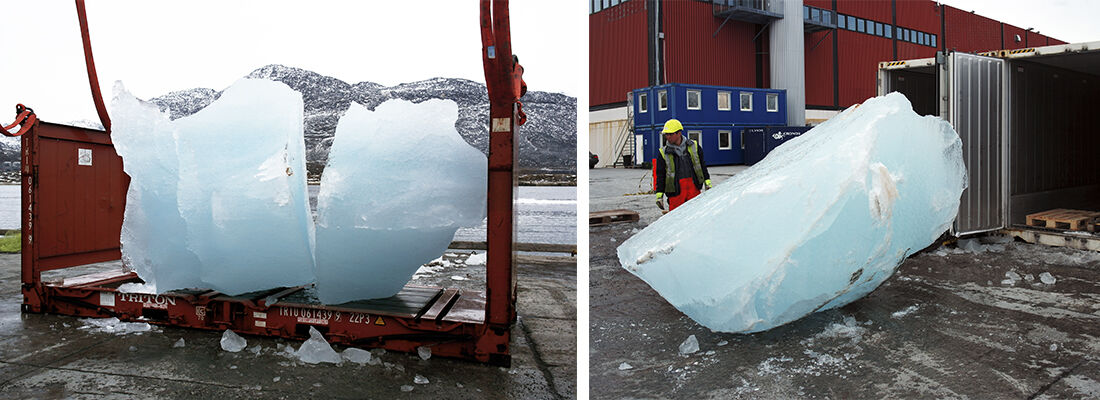 Loading ice at Nuuk Port and Harbour, Greenland. Photos by Group Greenland, courtesy of Olafur Eliasson.