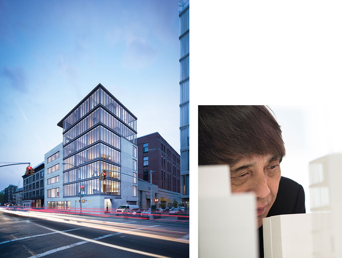 Left: Tadao Ando Architect & Associates, 152 Elizabeth Street. Rendering by Noë & Associates and The Boundary. Right: Portrait of Tadao Ando examining the model of 152 Elizabeth Street, photo courtesy of Sumaida + Khurana. Courtesy of Tadao Ando Architect & Associates.