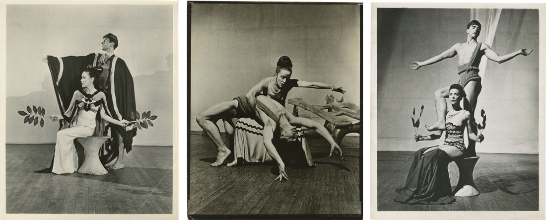 Left: Martha Graham and Bertram Ross in Night Journey. Photographer unknown; Center and right: Martha Graham and Erick Hawkins in Night Journey. Photographer unknown. Images courtesy of the Martha Graham Dance Company.