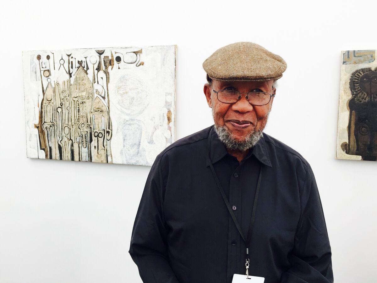 Ibrahim El-Salahi at Frieze NY 2015. Photo by Beth De Woody. Courtesy of Vigo Gallery.