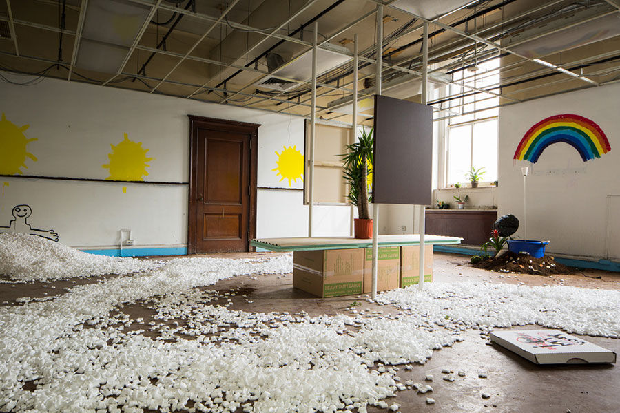 Sunny Disposition, installation by Bazaar Teens, curated by Dustin Yellin. Image courtesy of Samuel Morgan Photography.