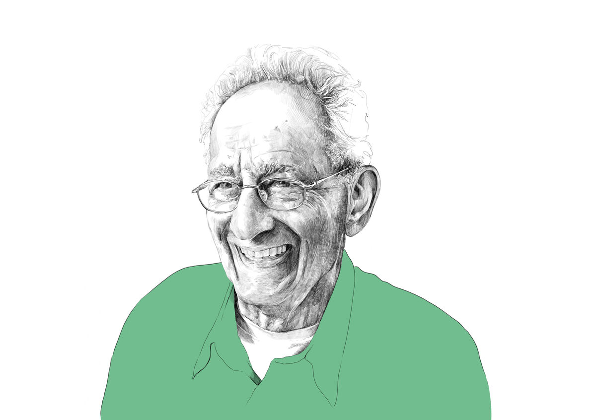 Illustration of Frank Stella by Rebecca Strickson for Artsy, based on a photograph by Kristine Larsen.