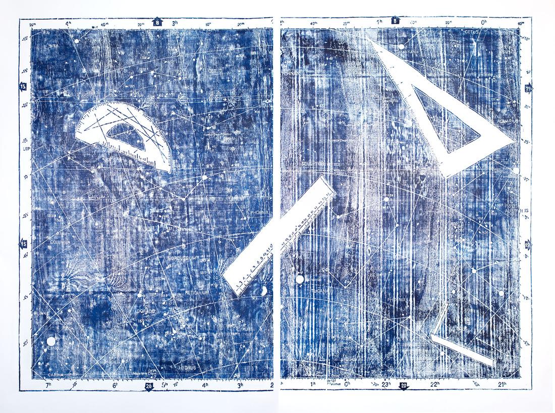 Nicolás Bacal, La arquitectura de la soledad 14, 2014; Xylography on Fabriano Academia 200 gr, 180 x 120 cm. Courtesy of Gallery Vermelho.