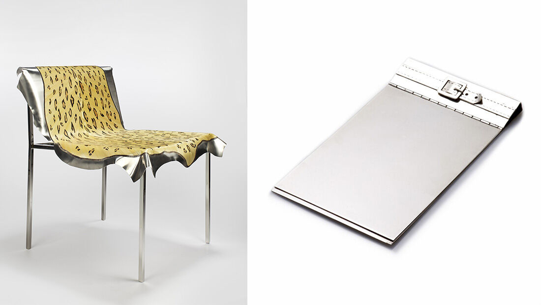 Left: Maria Pergay, Leopard Chair, 2009. Right: Maria Pergay, Belt Bloc-Note, 1957. Images Courtesy of Demisch Danant.