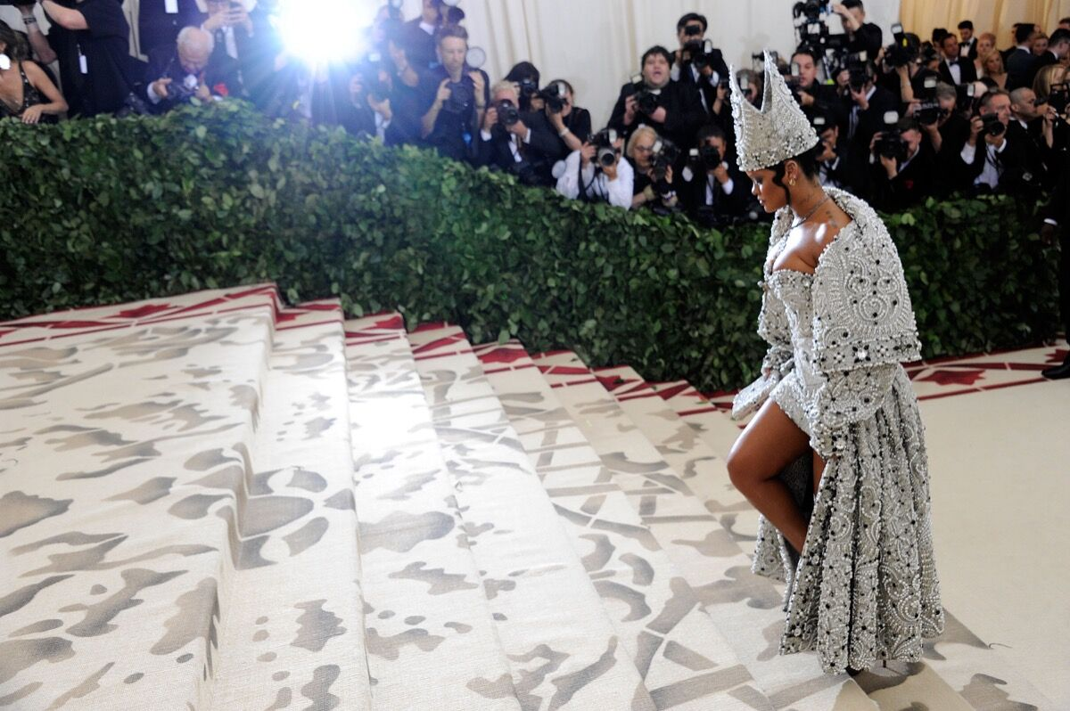 Rihanna attends Heavenly Bodies: Fashion & The Catholic Imagination Costume Institute Gala at the Metropolitan Museum of Art in New York City. Photo by Rabbani and Solimene Photography/Getty Images.