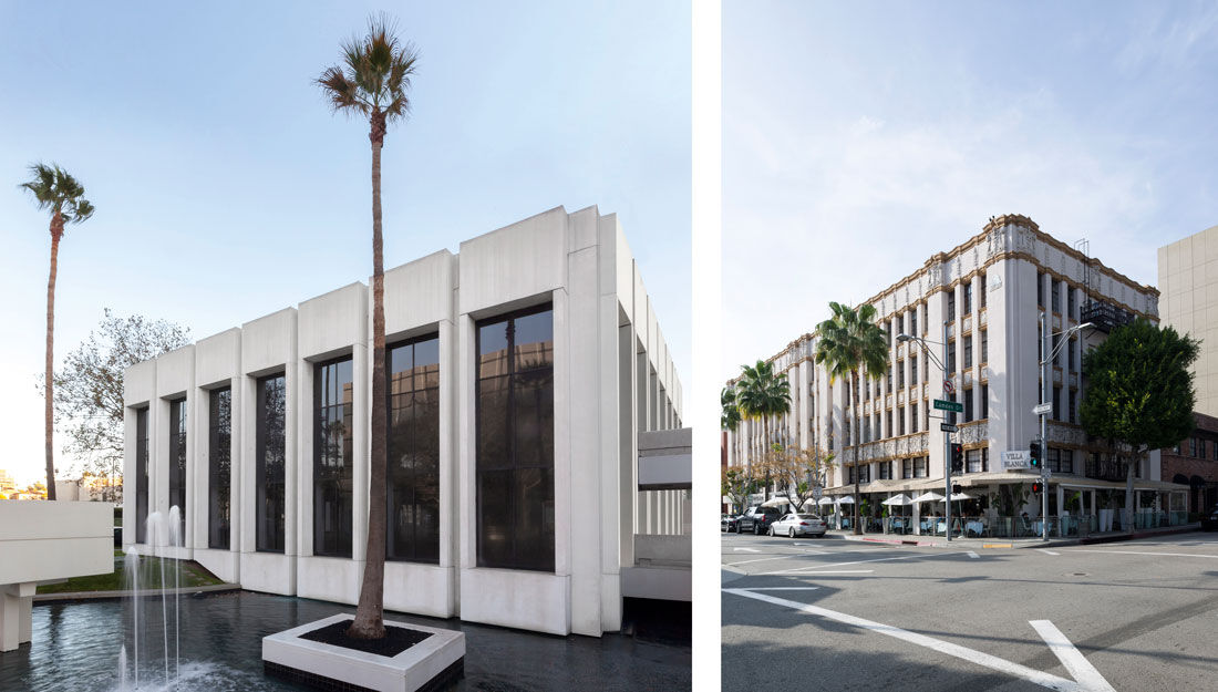 Left: Exterior view of Sprüth Magers, Los Angeles. Photo by Joshua White/JWPICTURES.com, courtesy of Sprüth Magers; Right: Exterior view of Karma International's Beverly Hills space. Photo courtesy of Karma International.