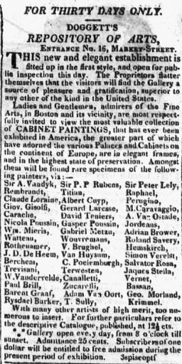 Advertisement for exhibition of European masters at John Doggett's Boston gallery, 1821. Image via Wikimedia Commons.