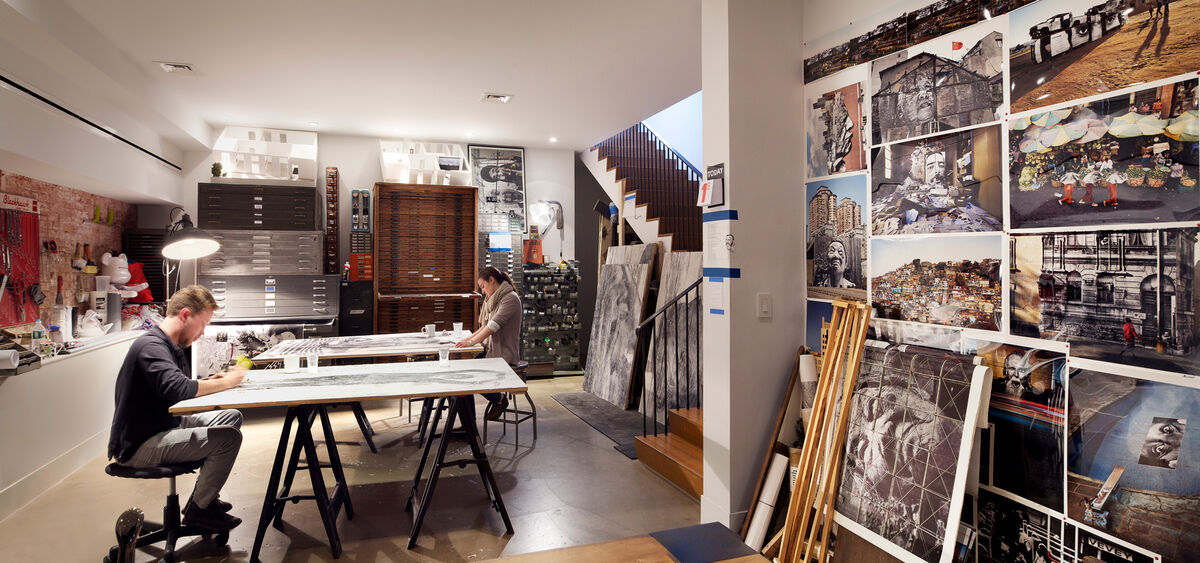 Detail of JR's New York studio. Photo by Alec Bastian for Artsy.