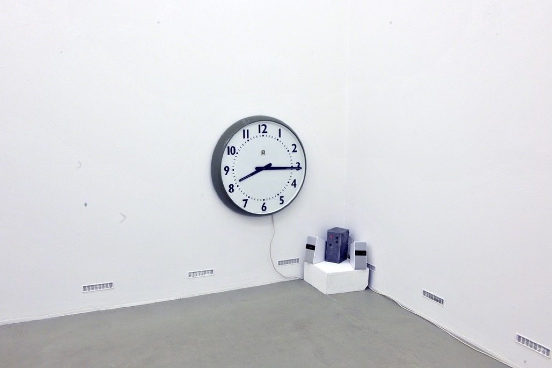 """David Garner. Timepiece. 2015. Factory Clock, Audio (""""Ticky Tock"""" – works and music by Woody Guthrie and Hans-Eckhardt Wenzel © 2003 BMG Bumblebee (BMI) All Rights Administered by BMG Rights Management (US) LLC. Used by Permission. All Rights Reserved)"""