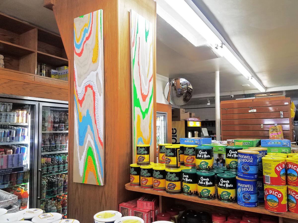 Installation view of Neil Hamamoto, m&m market deli 3 and m&m market deli 2, 2018,at M&M Market Delicatessen, 529 Broome St., New York, 2018.