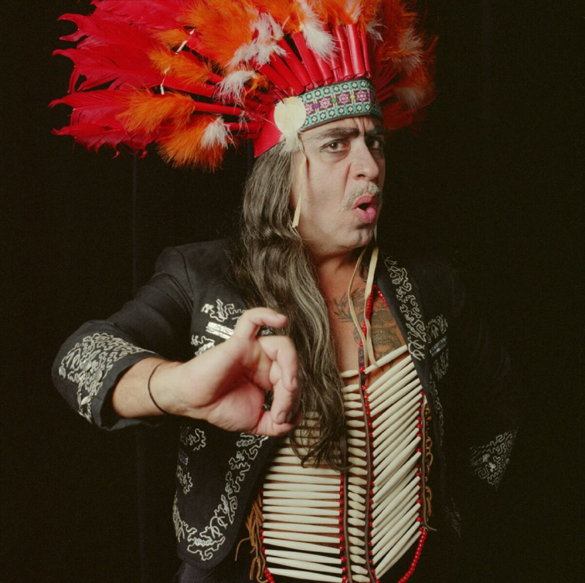 Portrait of Guillermo Gómez-Peña as a deviant shaman. Photo by Chicano photographer Xavier Tavera. Courtesy of La Pocha Nostra.