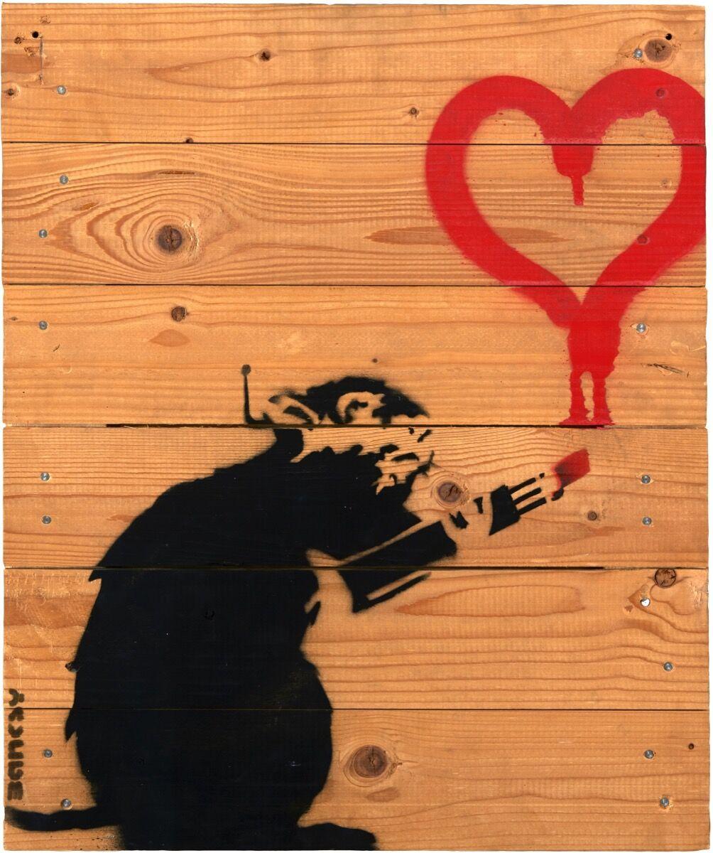 Banksy, Love Rat on pallet, 2004. Courtesy of Phillips.