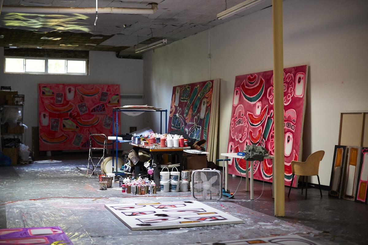 Detail of Katherine Bernhardt's Brooklyn studio by Emily Johnston for Artsy.