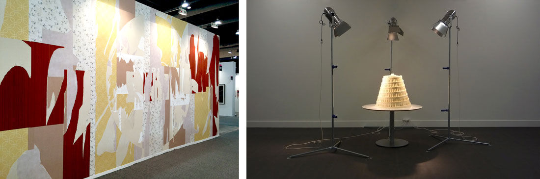 Installation views of Proyectos Monclova's booth at ZsONA MACO 2016. Left: Tercerunquinto, Signo político en un ambiente doméstico, 2016. Right: Raul Ortega Ayala, Babel Fat Tower, from the series Food for Thought, 2010. Photos courtesy of the artists and Proyectos Monclova, Mexico City.