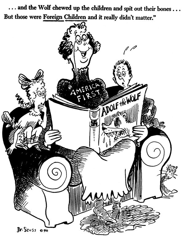 Dr. Seuss, ... and the wolf chewed up the children and spit out their bones... but those were foreign children and it really didn't matter., October 1, 1941, Dr. Seuss Political Cartoons. Special Collection & Archives, UC San Diego Library