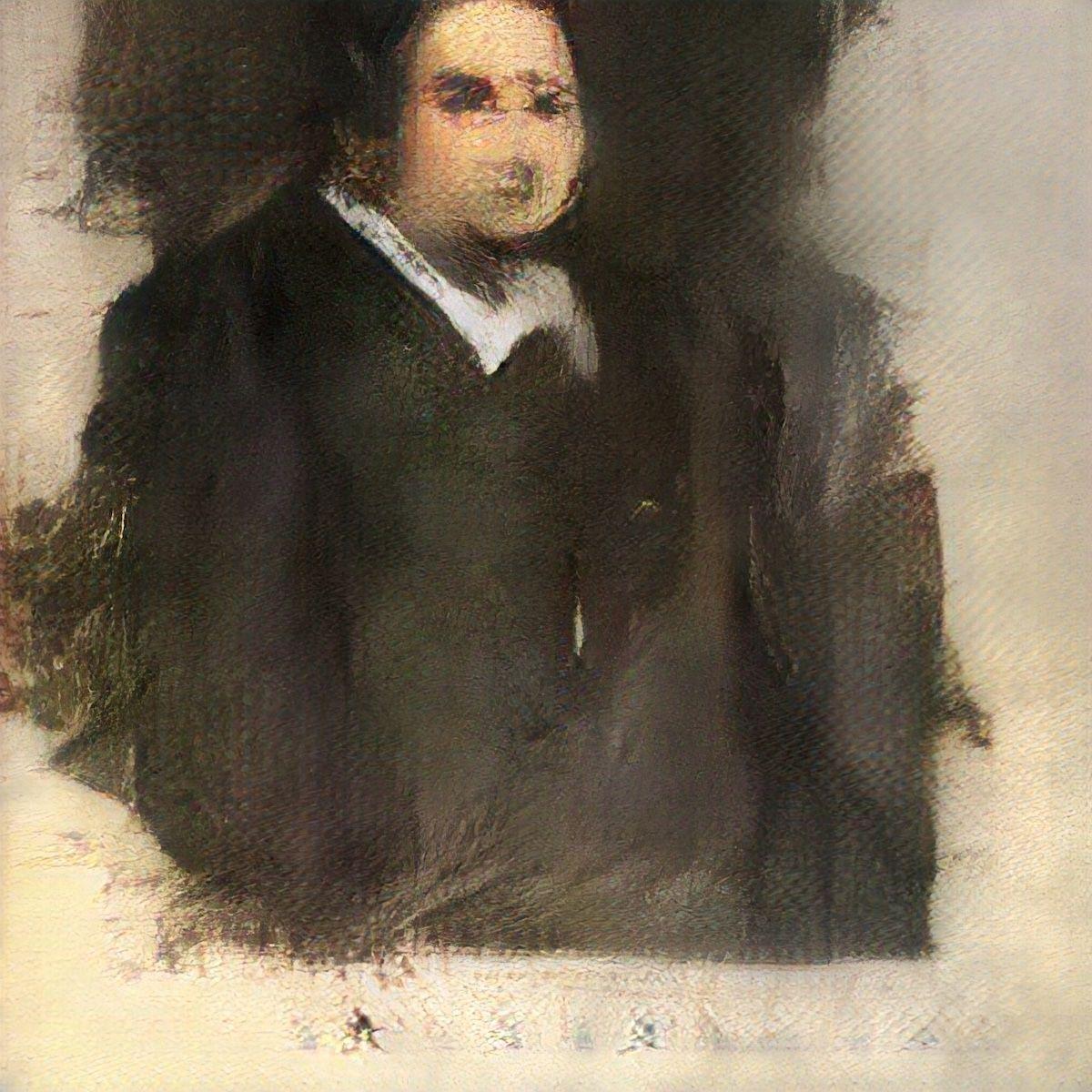 Portrait of Edmond de Belamy, 2018. Generative Adversarial Network print published by Obvious Art, Paris. © Obvious. Courtesy of Christie's.