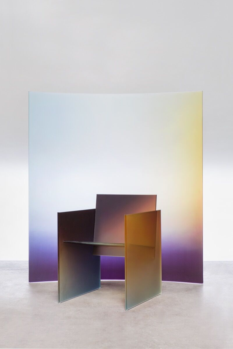 Germans Ermičs, Ombré Glass Chair and Horizon Screens, for FRAME Magazine, 2017. © Studio Germans Ermičs, 2018. Photo by Floor Knaapen. Courtesy of the artist.