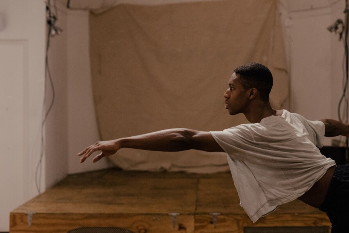 Quenton Stuckey during a FlucT rehearsal. Photo by Daniel Dorsa for Artsy.