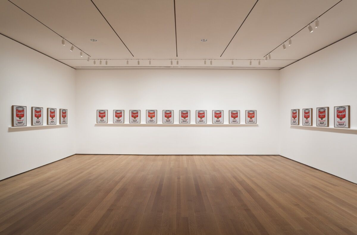"Installation view of ""Andy Warhol: Campbell's Soup Cans and Other Works,"" 1953–1967 at The Museum of Modern Art, April 25–October 12, 2015. Photo by Jonathan Muzikar. © The Museum of Modern Art, New York."