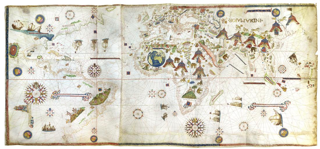 Visconte Maggiolo,Planisphere, 1513. Image courtesy of Daniel Crouch Rare Books.