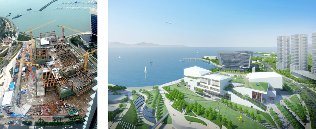 Left: Construction of the Sea World Culture and Arts Center. © Design Society; Right: Rendering of the Sea World Culture and Arts Center. © Maki and Associates. Images courtesy of Design Society.