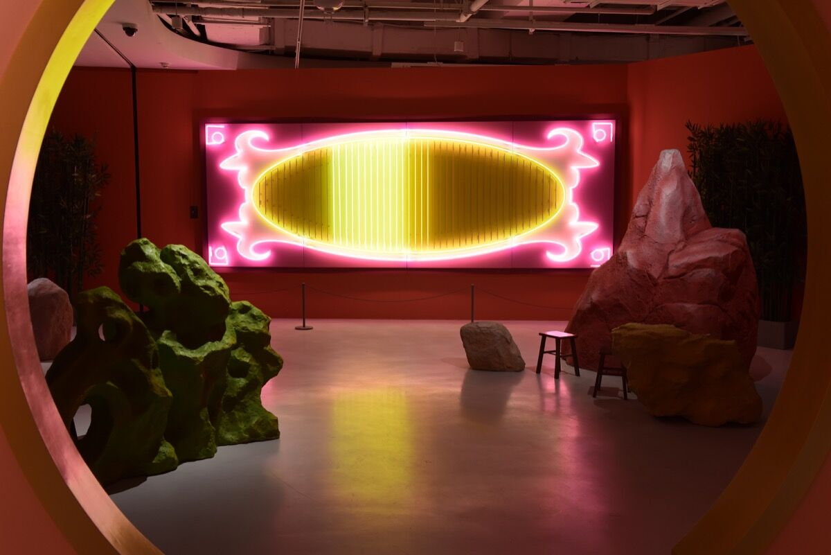 "Installation view of Adrian Wong's ""New Orient Garden"" at chi K11 art museum. Courtesy of K11 Art Foundation."