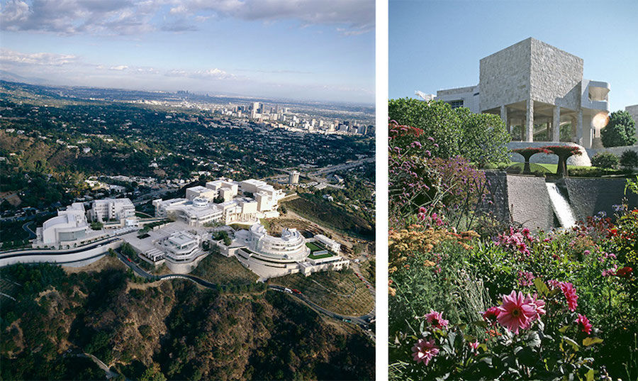 Views of the J. Paul Getty Museum campus. © J. Paul Getty Trust.