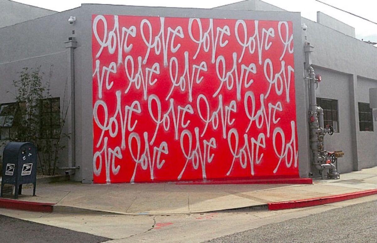 Curtis Kulig, Love Wall at Smashbox Studios, Los Angeles. Photo by Eva Katz.
